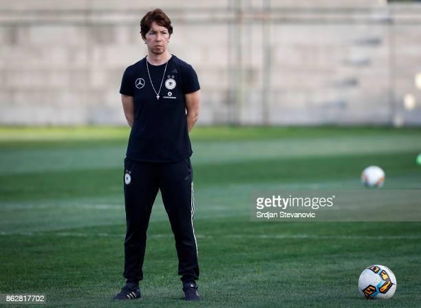 Head coach Maren Meinert of Germany looks on prior the international friendly match between U19 Women's Serbia and U19 Women's Germany at stadium...