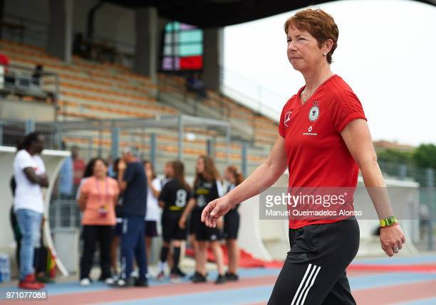 Head coach Maren Meinert of Germany looks on prior to the Four Nations Tournament match between U20 Women's Haiti and U20 Women's Germany at Stade...