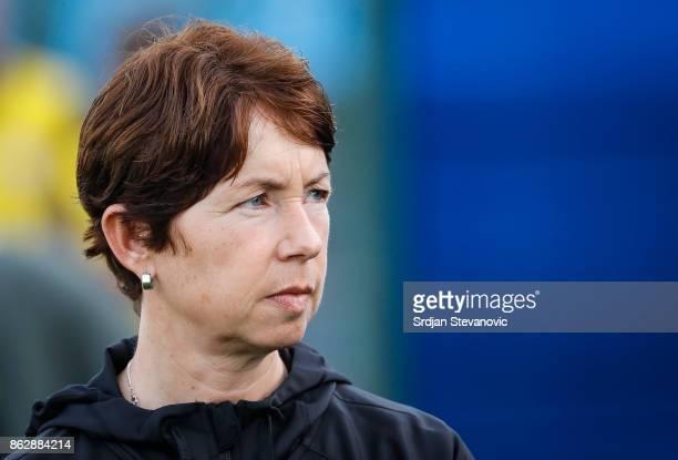 Head coach Maren Meinert of Germany looks on prior to the international friendly match between U19 Women's Serbia and U19 Women's Germany at stadium...