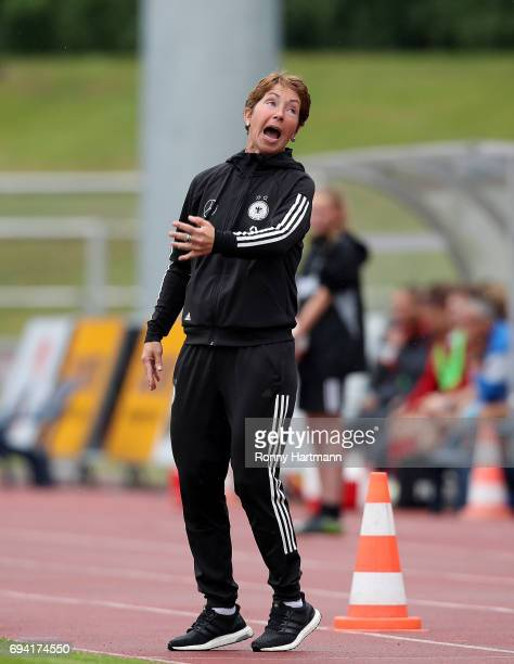 Head coach Maren Meinert of Germany reacts during the U19 women's elite round match between Germany and Switzerland at Friedensstadion on June 9 2017...