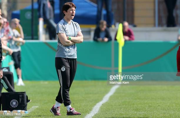Head coach Maren Meinert of Germany reacts during the UEFA Women's U19 European Qualifier match between Germany and Czech Republic at...