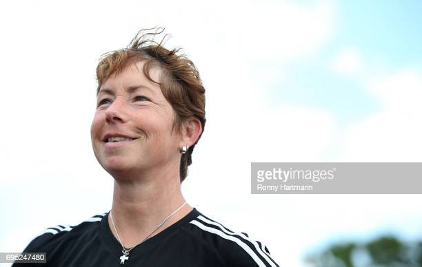 Head coach Maren Meinert of Germany smiles after the U19 women's elite round match between Poland and Germany at Stadion Sandersdorf on June 12 2017...