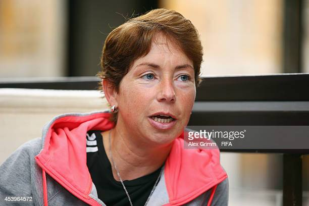 Head coach Maren Meinert of Germany talks during an interview at the Sheraton Hotel on August 22 2014 in Montreal Canada