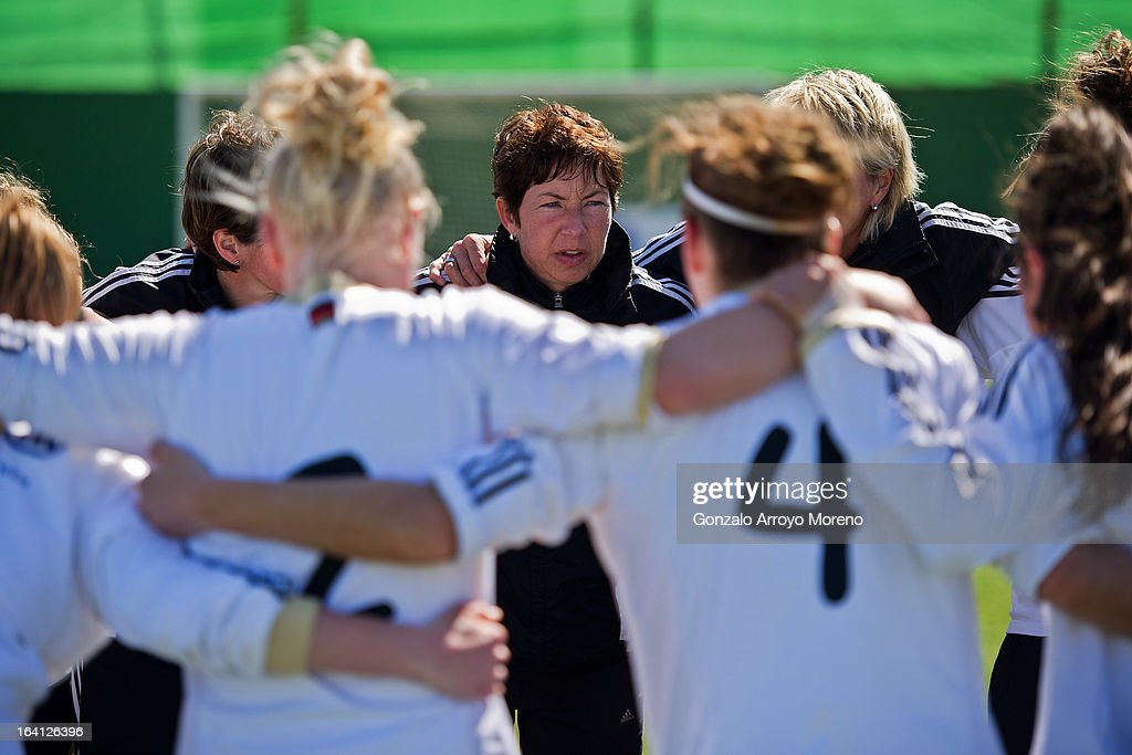Head coach Maren Meinert of U19 Germany gives instructions to her players after the Women's U19 Tournament match between U19 Norway and U19 Germany at La Manga Club ground G on March 11, 2013 in La Manga, Spain.