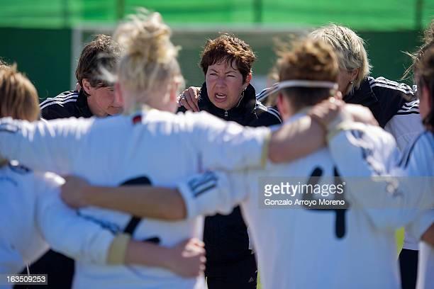 Head coach Maren Meinert of U19 Germany speaks to her players after the Women's U19 Tournament match between U19 Norway and U19 Germany at La Manga...