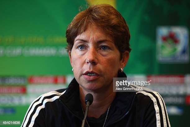 Head coach Maren Meinert oif Germany talks to the media during the FIFA Women's World Cup Canada 2014 Press Conference at Le Westin hotel on August...
