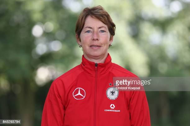 Head coach Maren Meinert poses during the U19 Germany Women's Tem Presentation at Sportschule Wedau on September 10 2017 in Duisburg Germany