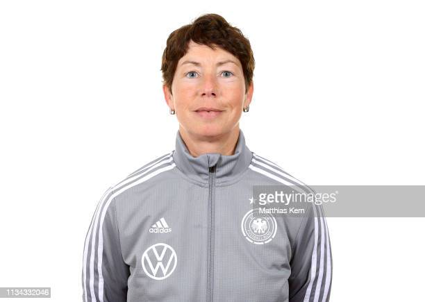 Head coach Maren Meinert poses during the U19 Women's Germany team presentation on April 1 2019 in Kleinmachnow Germany