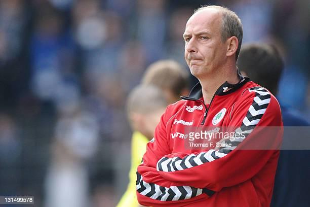 Head coach Mario Basler of Oberhausen looks dejected during the Third League match between Arminia Bielefeld and Rot-Weiss Oberhausen at the Schueco...