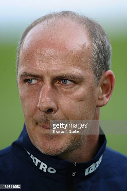 Head coach Mario Basler of Oberhausen looks on prior to the Third League match between Arminia Bielefeld and Rot-Weiss Oberhausen at the Schueco...
