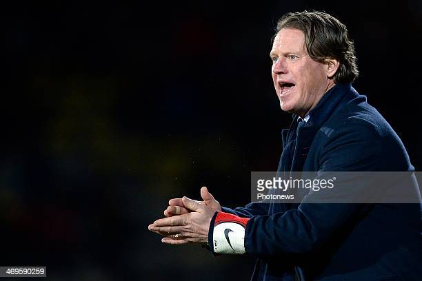 head coach Mario Been of KRC Genk issues instructions to his players during the Jupiler League match between K Lierse SK and Racing Genk on February...