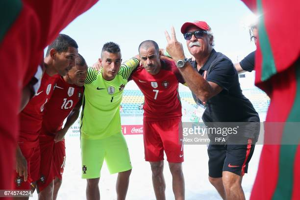 Head coach Mario Narciso of Portugal speaks to the team before the FIFA Beach Soccer World Cup Bahamas 2017 group C match between Portugal and Panama...