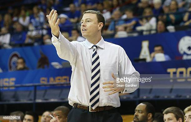 Head coach Mark Byington of the Georgia Southern Eagles react to a call as his team takes on the Georgia State Panthers during the Sun Belt...