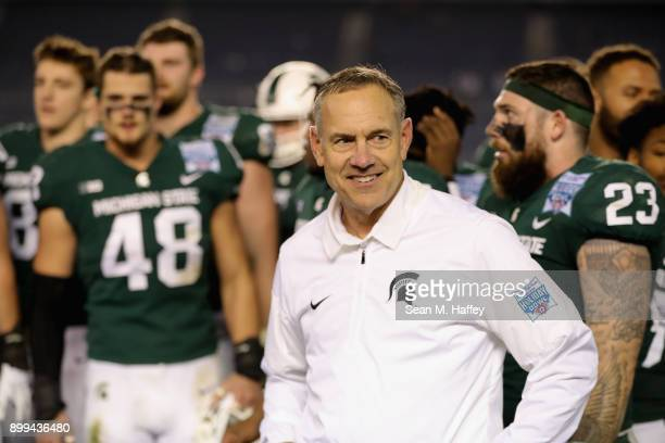 Head coach Mark Dantonio looks on after defeating the Washington State Cougars 42-17 in the SDCCU Holiday Bowl at SDCCU Stadium on December 28, 2017...