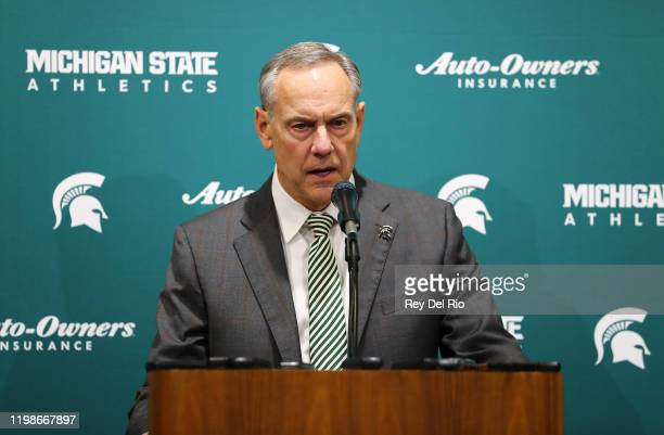 Head coach Mark Dantonio of the Michigan State Spartans addresses the media after announcing his retirement before the game between the Michigan...