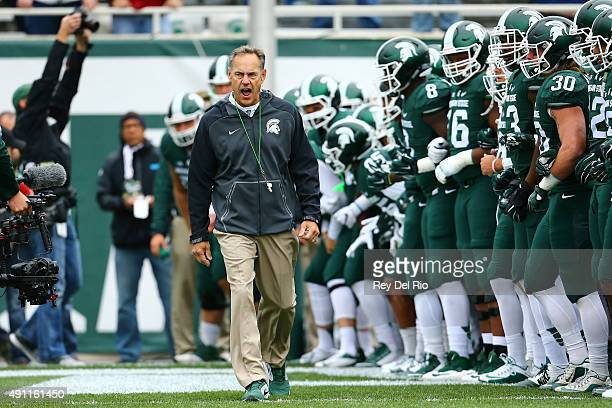 Head coach Mark Dantonio of the Michigan State Spartans during warmups prior to the game against the Purdue Boilermakers at Spartan Stadium on...