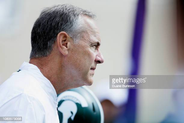Head coach Mark Dantonio of the Michigan State Spartans during the first half of a game against the Northwestern Wildcats at Spartan Stadium on...