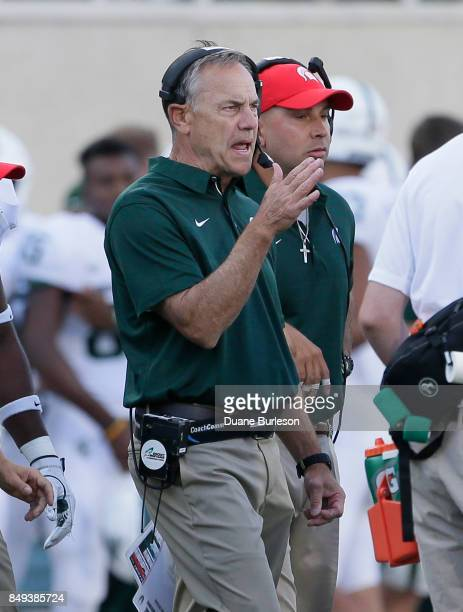 Head coach Mark Dantonio of the Michigan State Spartans during the second half of a game against the Western Michigan Broncos at Spartan Stadium on...