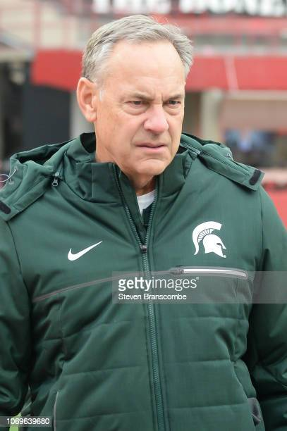 Head coach Mark Dantonio of the Michigan State Spartans in pregame activities before the game against the Nebraska Cornhuskers at Memorial Stadium on...