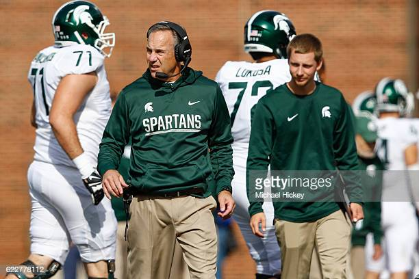 Head coach Mark Dantonio of the Michigan State Spartans is seen during the game against the Illinois Fighting Illini at Memorial Stadium on November...
