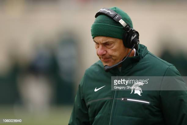 Head coach Mark Dantonio of the Michigan State Spartans looks on while playing the Ohio State Buckeyesat Spartan Stadium on November 10, 2018 in East...