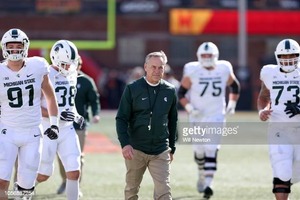 Head coach Mark Dantonio of the Michigan State Spartans looks on prior to playing against the Maryland Terrapins at Capital One Field on November 3,...