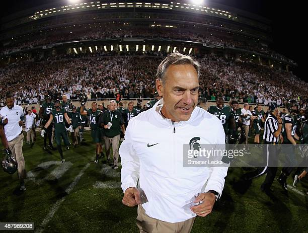 Head coach Mark Dantonio of the Michigan State Spartans reacts after defeating the Oregon Ducks 31-28 at Spartan Stadium on September 12, 2015 in...