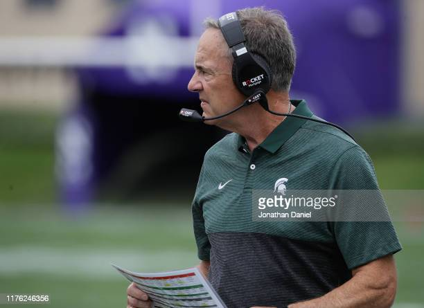 Head coach Mark Dantonio of the Michigan State Spartans watches as his team takes on the Northwestern Wildcats at Ryan Field on September 21, 2019 in...