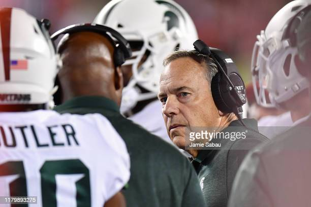 Head Coach Mark Dantonio of the Michigan State Spartans watches his team play against the Ohio State Buckeyes at Ohio Stadium on October 5, 2019 in...