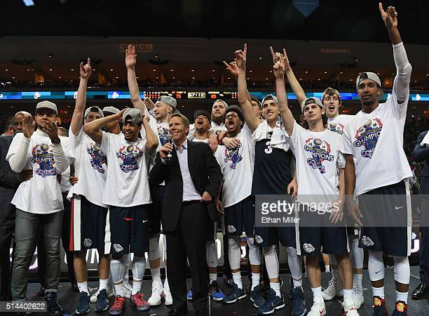 Head coach Mark Few of the Gonzaga Bulldogs celebrates with his players after they defeated the Saint Mary's Gaels 8575 to win the championship game...