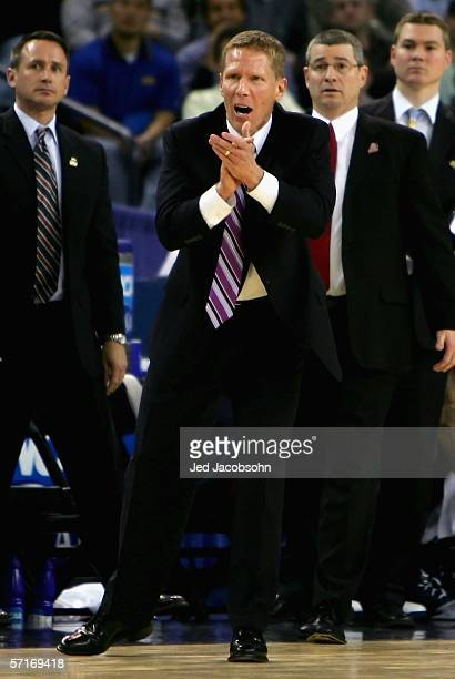 Head coach Mark Few of the Gonzaga Bulldogs cheers his team against the UCLA Bruins during the third round game of the NCAA Division I Men's...