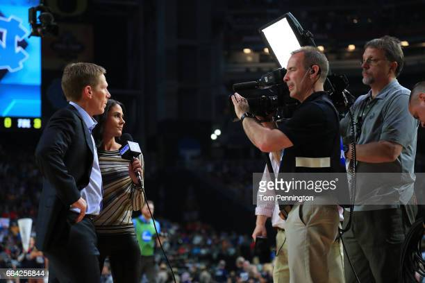 Head coach Mark Few of the Gonzaga Bulldogs is interviewed by CBS sideline reporter Tracy Wolfson after the first half against the North Carolina Tar...