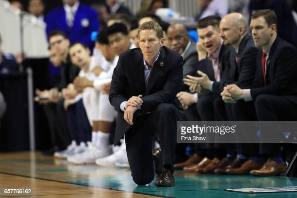 Head coach Mark Few of the Gonzaga Bulldogs looks on against the Xavier Musketeers during the 2017 NCAA Men's Basketball Tournament West Regional at...