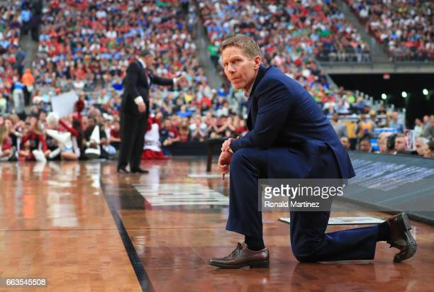 Head coach Mark Few of the Gonzaga Bulldogs looks on in the second half against the South Carolina Gamecocks during the 2017 NCAA Men's Final Four...