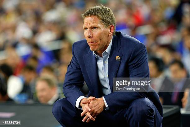 Head coach Mark Few of the Gonzaga Bulldogs reacts against the UCLA Bruins during a South Regional Semifinal game of the 2015 NCAA Men's Basketball...