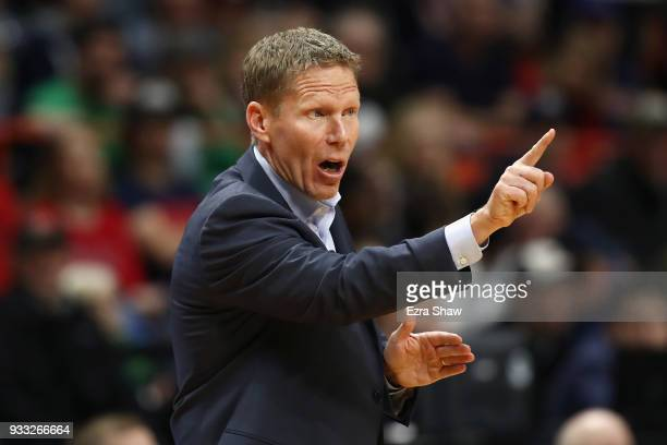 Head coach Mark Few of the Gonzaga Bulldogs reacts during the second half against the Ohio State Buckeyes in the second round of the 2018 NCAA Men's...