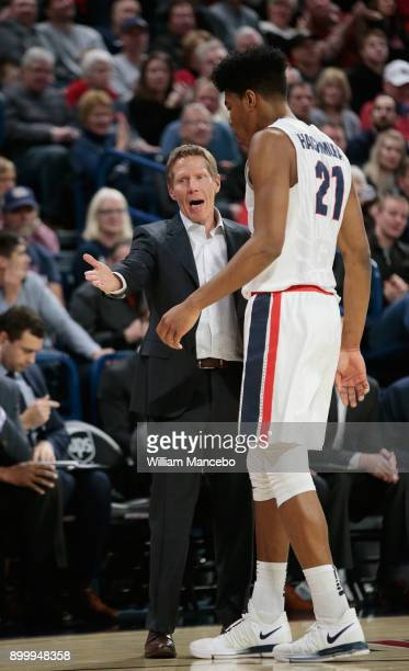 Head coach Mark Few of the Gonzaga Bulldogs talks to forward Rui Hachimura in the second half against the Santa Clara Broncos at McCarthey Athletic...