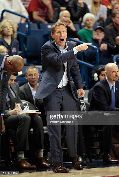Head coach Mark Few of the Gonzaga Bulldogs works from the sideline in the second half of the game against the Saint Mary's Gaels at McCarthey...
