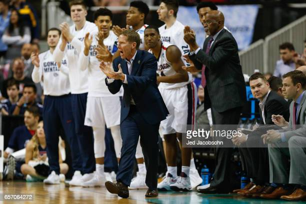 Head Coach Mark Few of the Gonzaga University supports his team against the West Virginia University during the 2017 NCAA Men's Basketball Tournament...