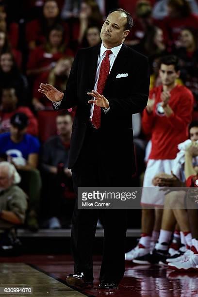Head coach Mark Fox of the Georgia Bulldogs looks on during the Georgia Bulldogs' basketball game against the South Carolina Gamecocks at Stegeman...