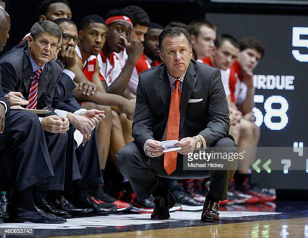 Head coach Mark Gottfried of the North Carolina State Wolfpack is seen during the game against the Purdue Boilermakers at Mackey Arena on December 2...