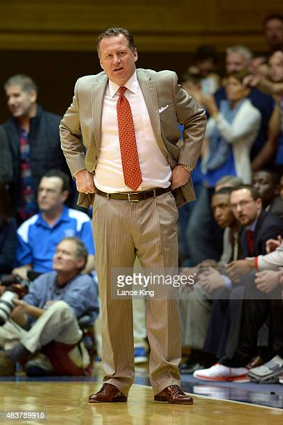 Head Coach Mark Gottfried of the North Carolina State Wolfpack looks on against the Duke Blue Devils at Cameron Indoor Stadium on January 18 2014 in...