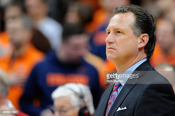 Head coach Mark Gottfried of the North Carolina State Wolfpack looks on prior to the game against the Syracuse Orange at the Carrier Dome on February...