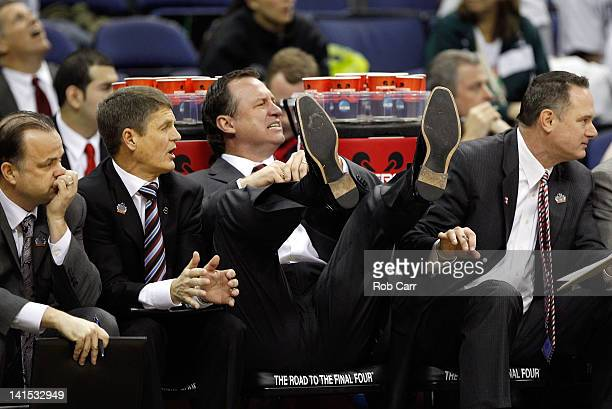 Head coach Mark Gottfried of the North Carolina State Wolfpack reacts to a call in the second half against the Georgetown Hoyas during the third...