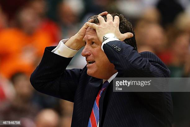 Head coach Mark Gottfried of the North Carolina State Wolfpack reacts against the Louisville Cardinals in the second half of the game during the East...