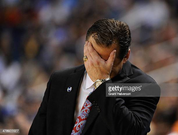 Head coach Mark Gottfried of the North Carolina State Wolfpack reacts as a foul is called against his team as they play against the Duke Blue Devils...