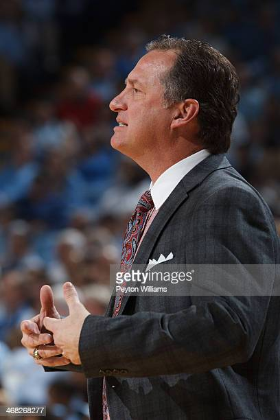 Head coach Mark Gottfried of the North Carolina State Wolfpack coaches against the North Carolina Tar Heels on February 01 2014 at the Dean E Smith...