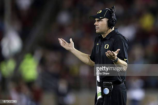 Head coach Mark Helfrich of the Oregon Ducks reacts in the first half while taking on the Stanford Cardinal at Stanford Stadium on November 7 2013 in...