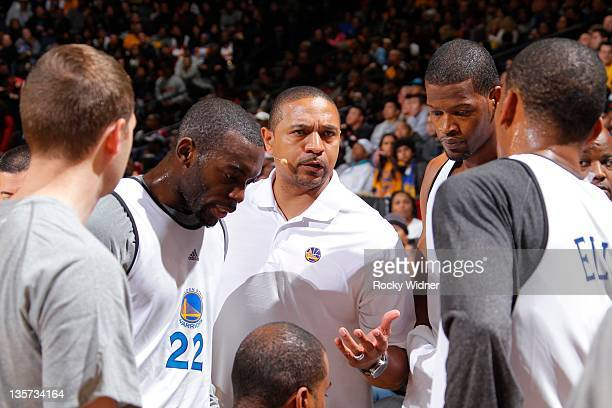 Head coach Mark Jackson of the Golden State Warriors addresses players at the team's annual Open Practice on December 12 2011 in Oakland California...