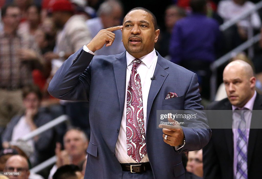 Head coach Mark Jackson of the Golden State Warriors gives instructions in the game against the Los Angeles Clippers in Game Five of the Western Conference Quarterfinals during the 2014 NBA Playoffs at Staples Center on April 29, 2014 in Los Angeles, California.